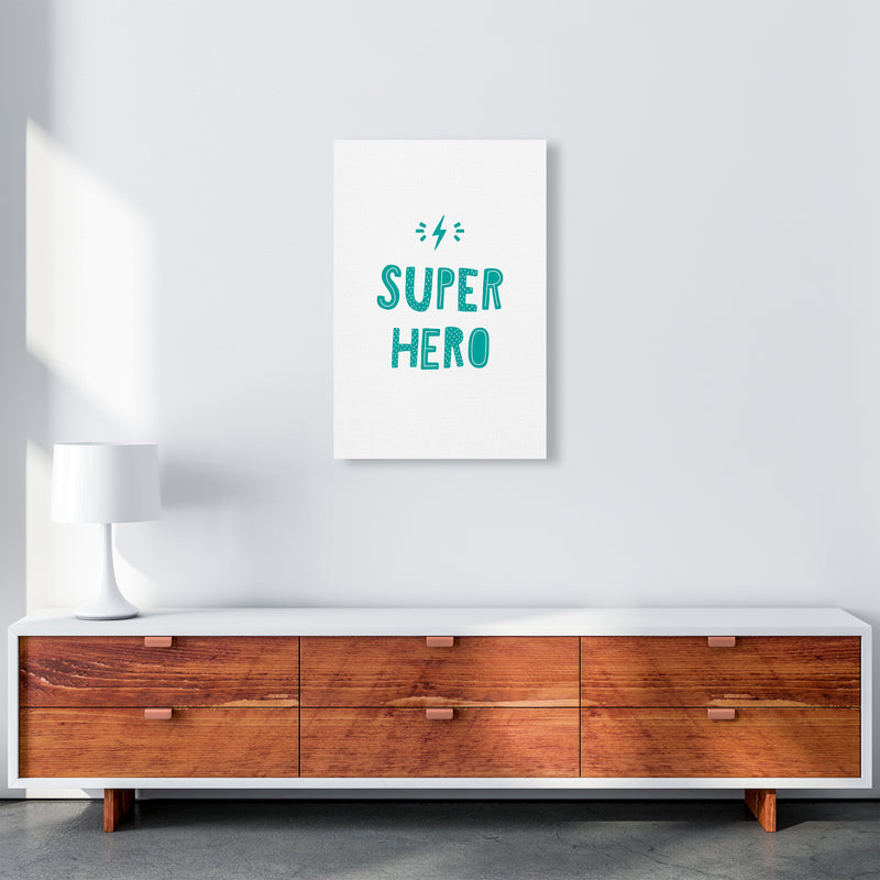 Super Hero Teal Super Scandi  Art Print by Pixy Paper A2 Canvas