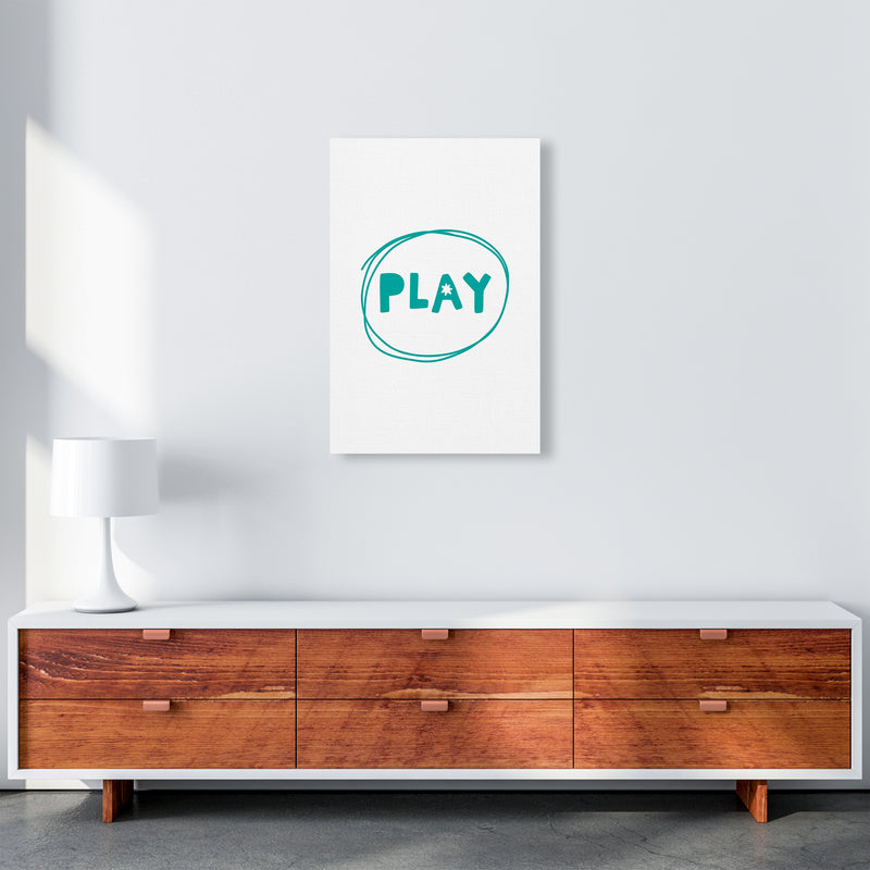 Play Teal Super Scandi  Art Print by Pixy Paper A2 Canvas