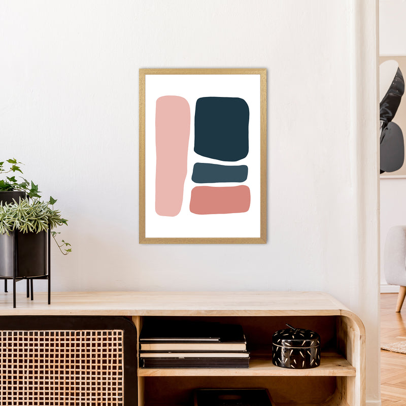 Pink And Navy Abstract Stones 3 Art Print by Pixy Paper A2 Print Only