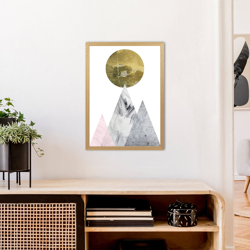 Luna Gold Moon And Mountains  Art Print by Pixy Paper A2 Print Only