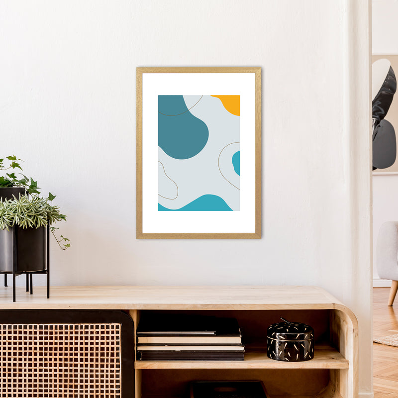 Mita Teal Abstract N16  Art Print by Pixy Paper A2 Print Only