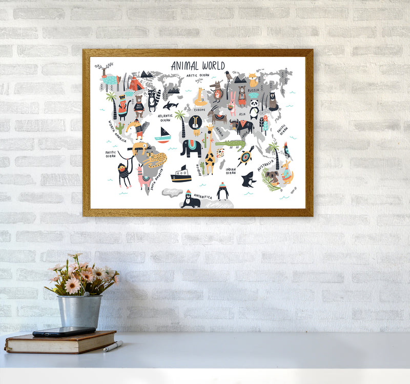 Animal World Map  Art Print by Pixy Paper A2 Print Only