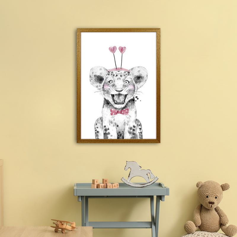 Safari Babies Tiger With Heart Hat  Art Print by Pixy Paper A2 Print Only