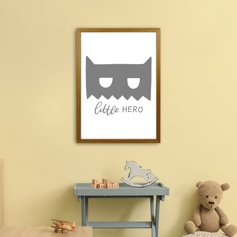 Little Hero Mask Super Scandi Grey  Art Print by Pixy Paper A2 Print Only
