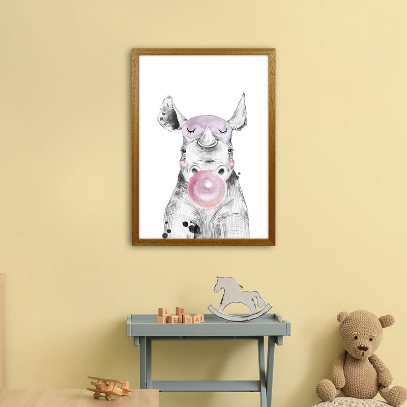 Safari Babies Rhino With Bubble  Art Print by Pixy Paper A2 Print Only