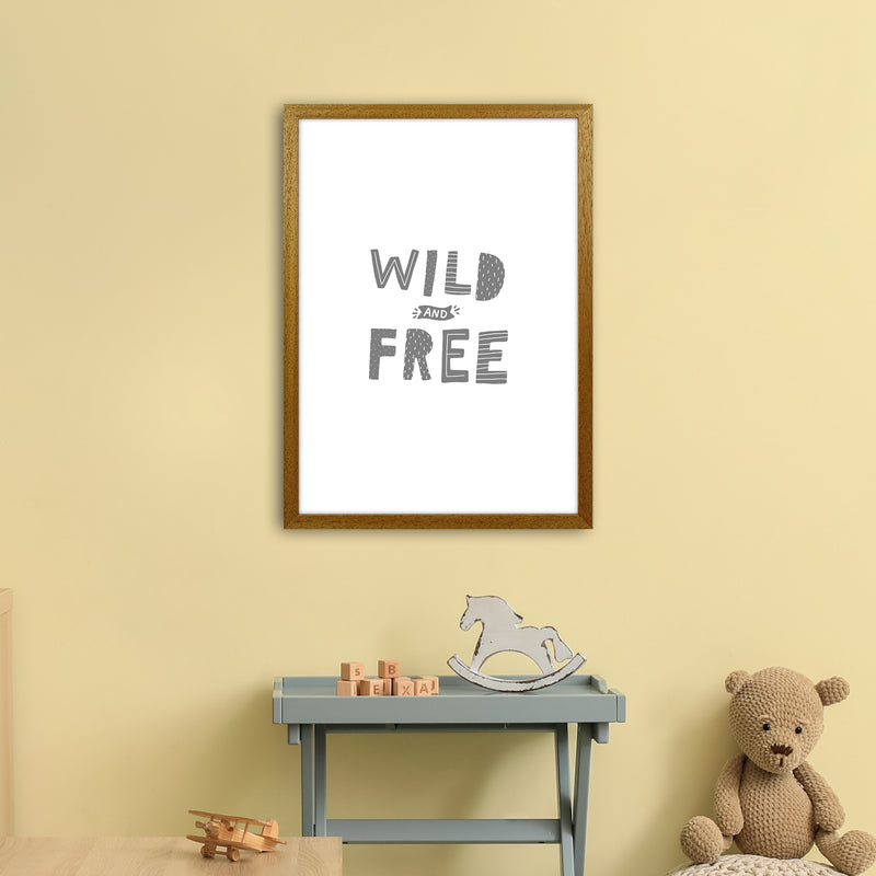 Wild And Free Grey Super Scandi  Art Print by Pixy Paper A2 Print Only