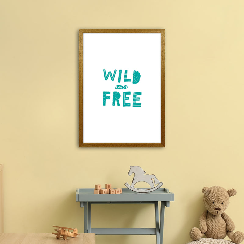 Wild And Free Teal Super Scandi  Art Print by Pixy Paper A2 Print Only