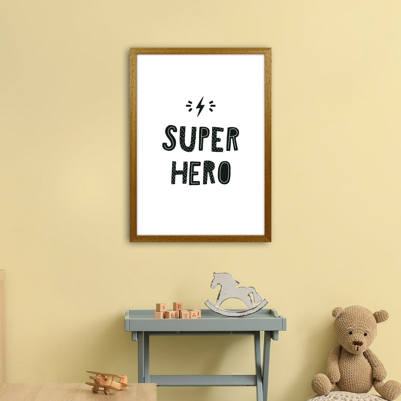 Super Hero Black Super Scandi  Art Print by Pixy Paper A2 Print Only