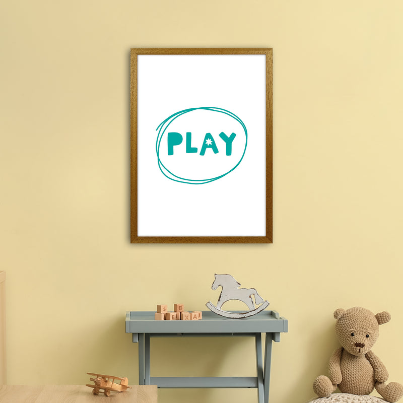 Play Teal Super Scandi  Art Print by Pixy Paper A2 Print Only