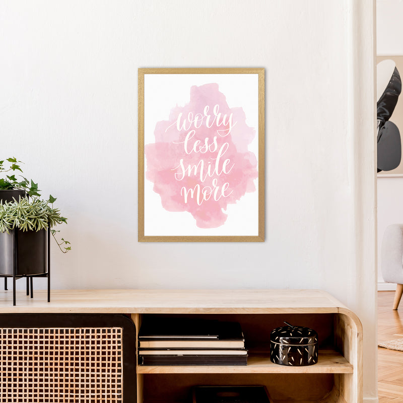 Worry Less Smile More  Art Print by Pixy Paper A2 Print Only