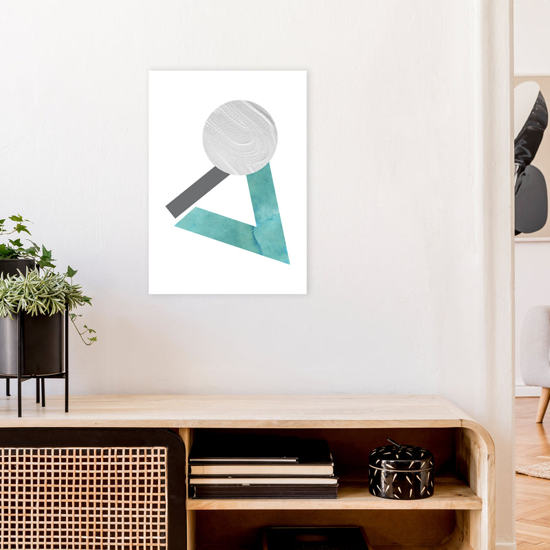 Marble Teal And Silver 3 Art Print by Pixy Paper A2 Black Frame