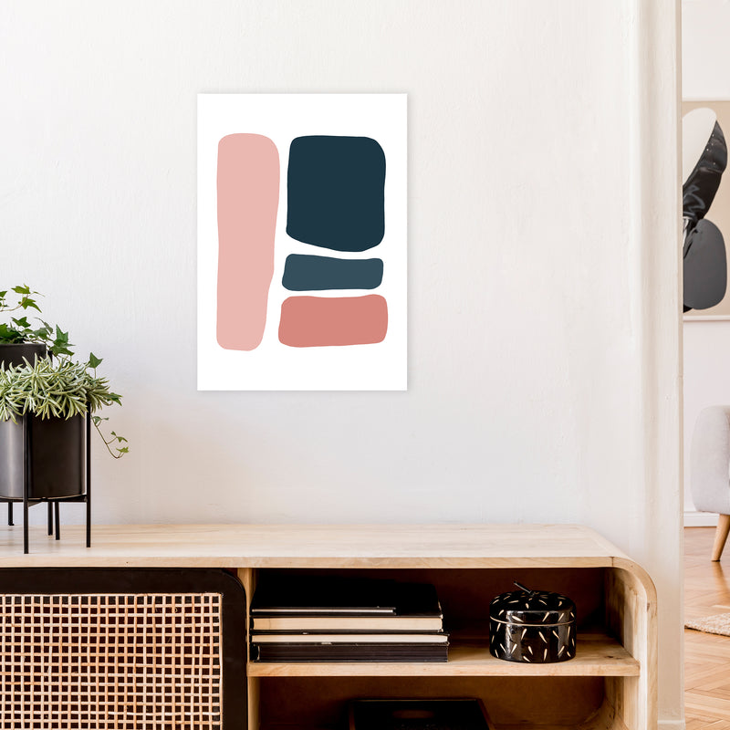 Pink And Navy Abstract Stones 3 Art Print by Pixy Paper A2 Black Frame