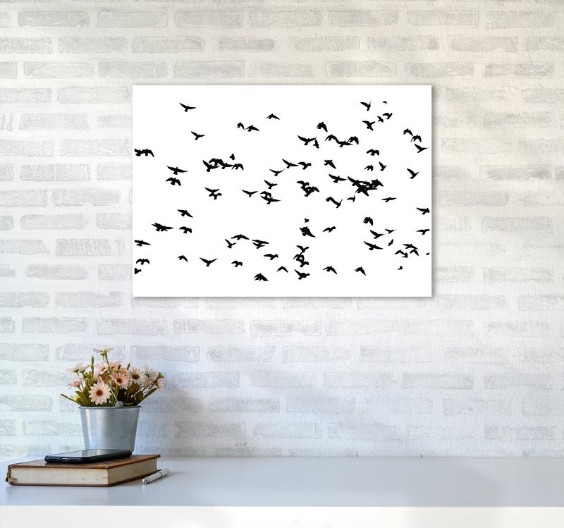 Flock Of Birds Landscape Art Print by Pixy Paper A2 Black Frame