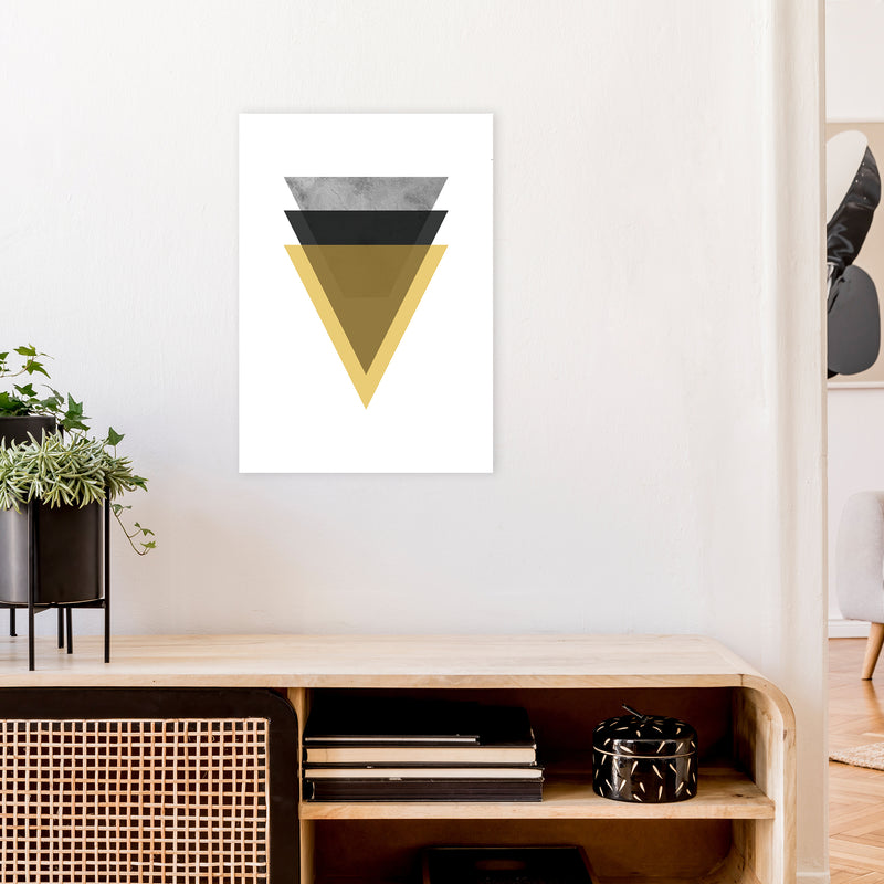Geometric Mustard And Black Triangles  Art Print by Pixy Paper A2 Black Frame