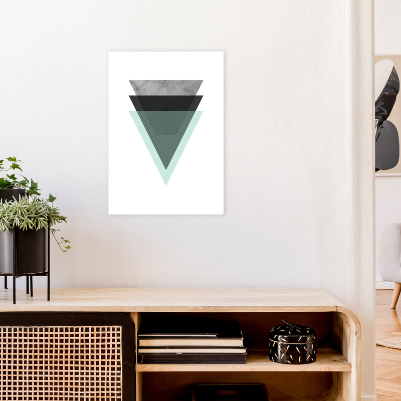 Geometric Mint And Black Triangles  Art Print by Pixy Paper A2 Black Frame