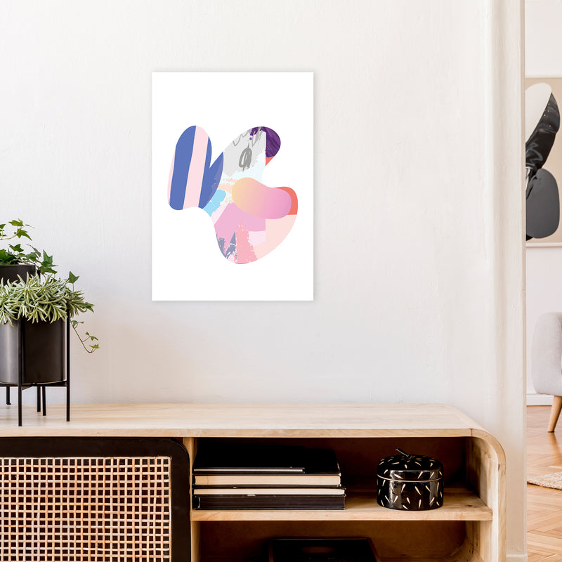 Pink Butterfly Abstract Shape  Art Print by Pixy Paper A2 Black Frame