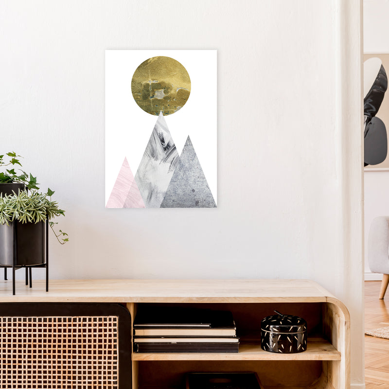 Luna Gold Moon And Mountains  Art Print by Pixy Paper A2 Black Frame