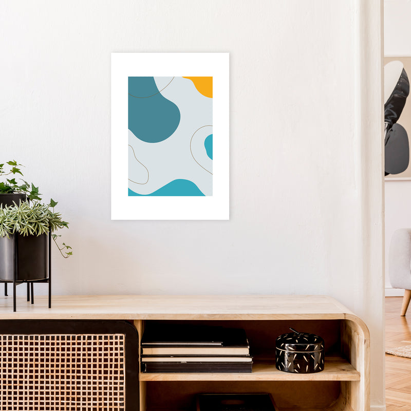 Mita Teal Abstract N16  Art Print by Pixy Paper A2 Black Frame