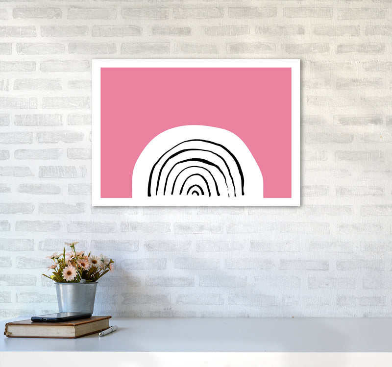Pink Rainbow Neon Funk  Art Print by Pixy Paper A2 Black Frame