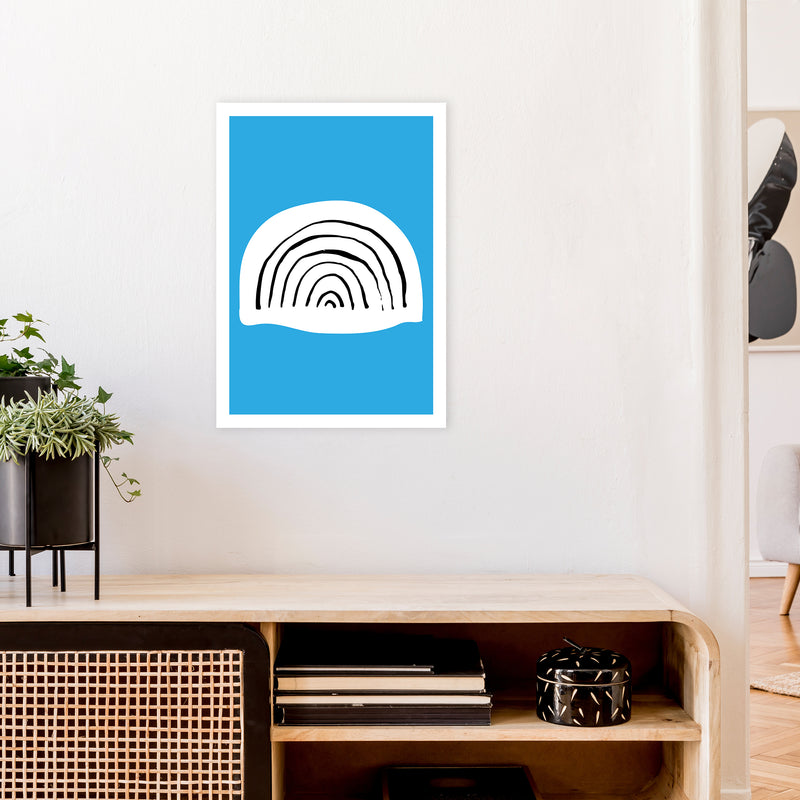 Blue Rainbow Neon Funk  Art Print by Pixy Paper A2 Black Frame