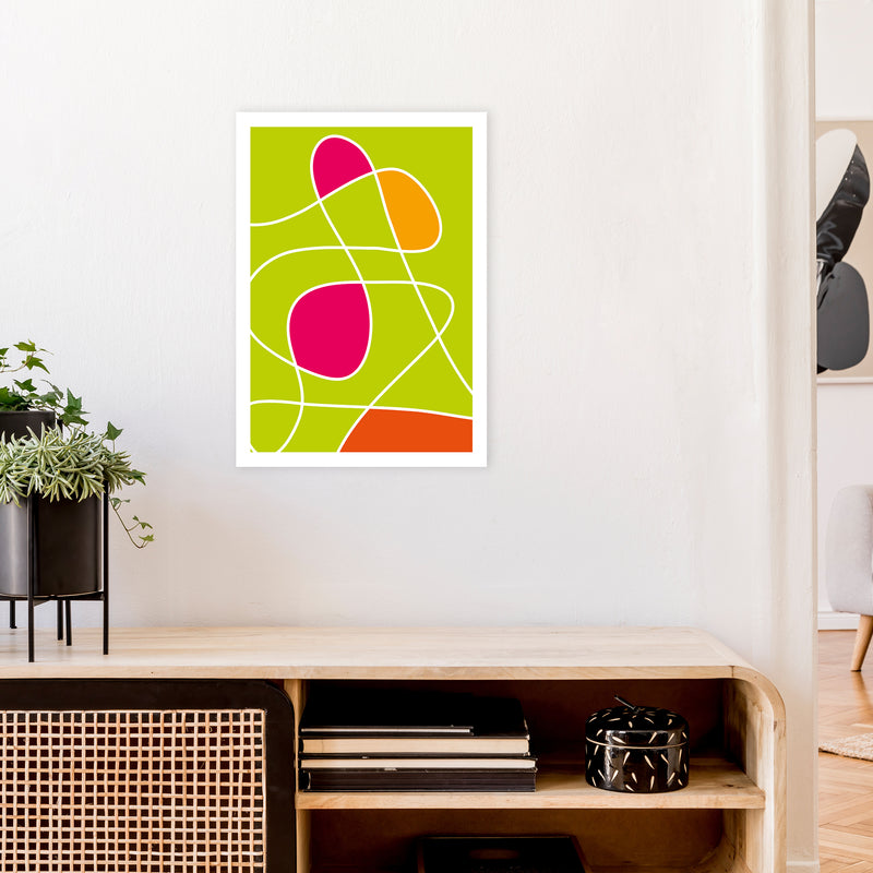 Lime Mess Neon Funk  Art Print by Pixy Paper A2 Black Frame