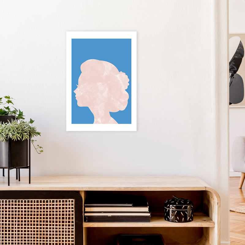 Marble Head Blue  Art Print by Pixy Paper A2 Black Frame