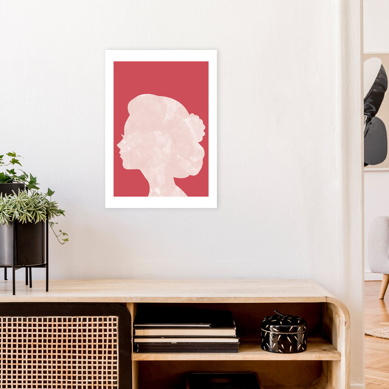 Marble Head Red  Art Print by Pixy Paper A2 Black Frame