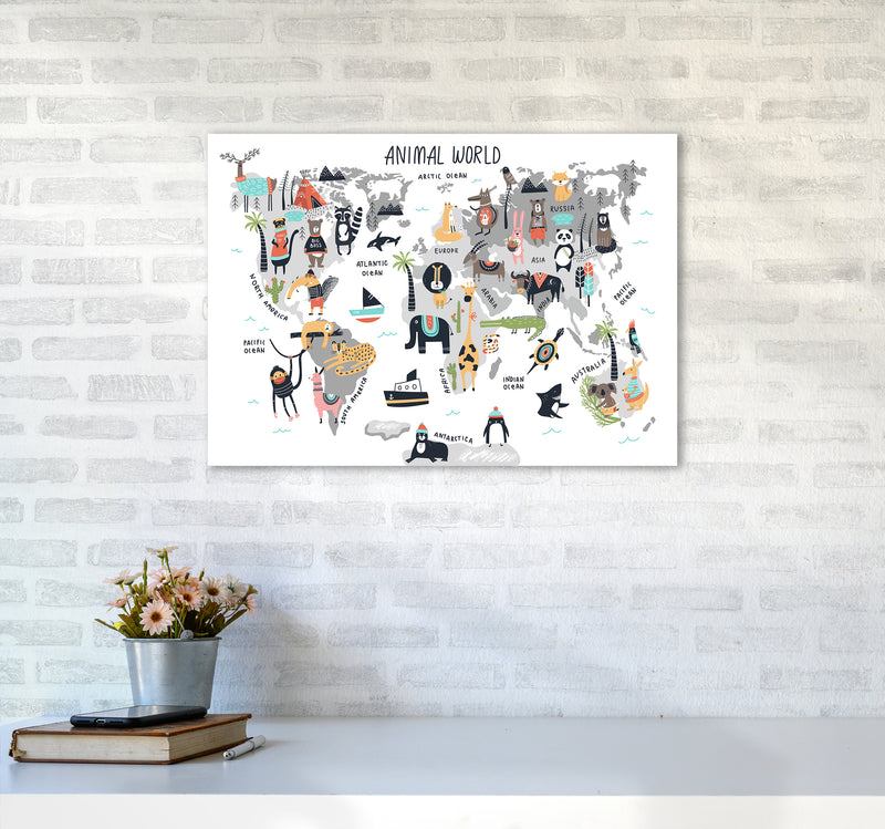Animal World Map  Art Print by Pixy Paper A2 Black Frame