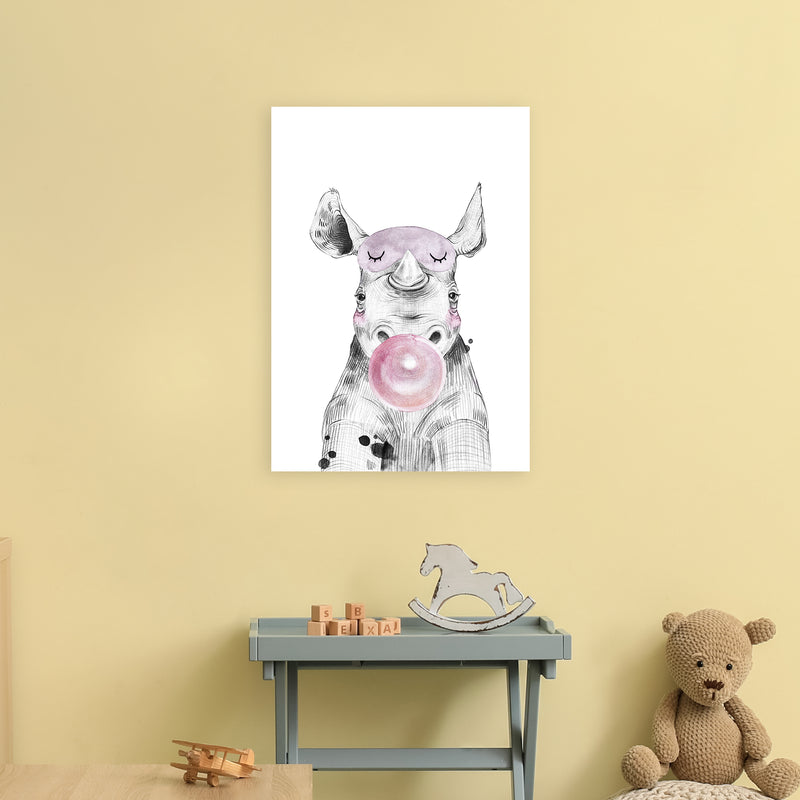 Safari Babies Rhino With Bubble  Art Print by Pixy Paper A2 Black Frame