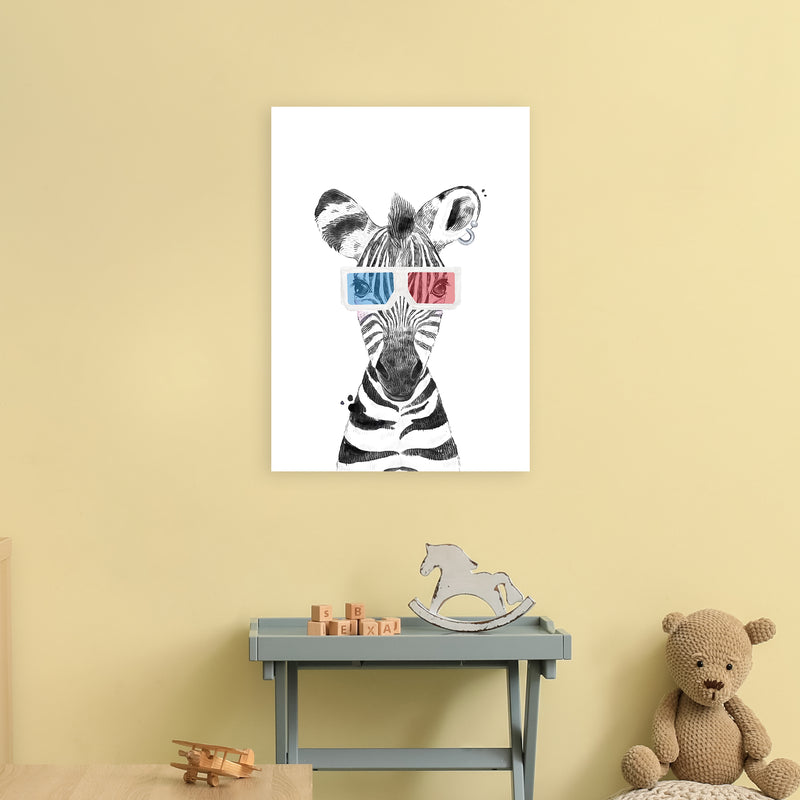 Safari Babies Zebra With Glasses  Art Print by Pixy Paper A2 Black Frame