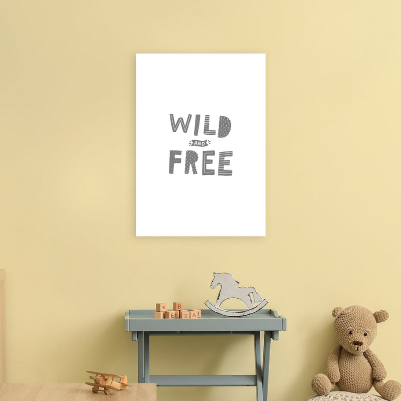 Wild And Free Grey Super Scandi  Art Print by Pixy Paper A2 Black Frame