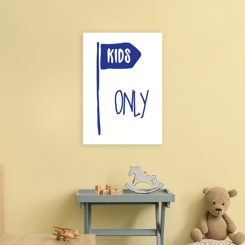 Kids Only Navy  Art Print by Pixy Paper A2 Black Frame