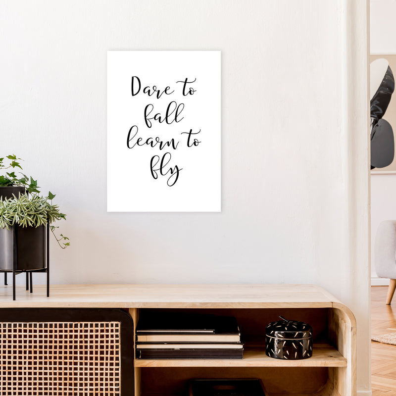 Dare To Fall  Art Print by Pixy Paper A2 Black Frame