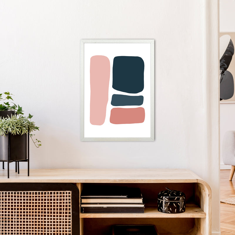 Pink And Navy Abstract Stones 3 Art Print by Pixy Paper A2 Oak Frame