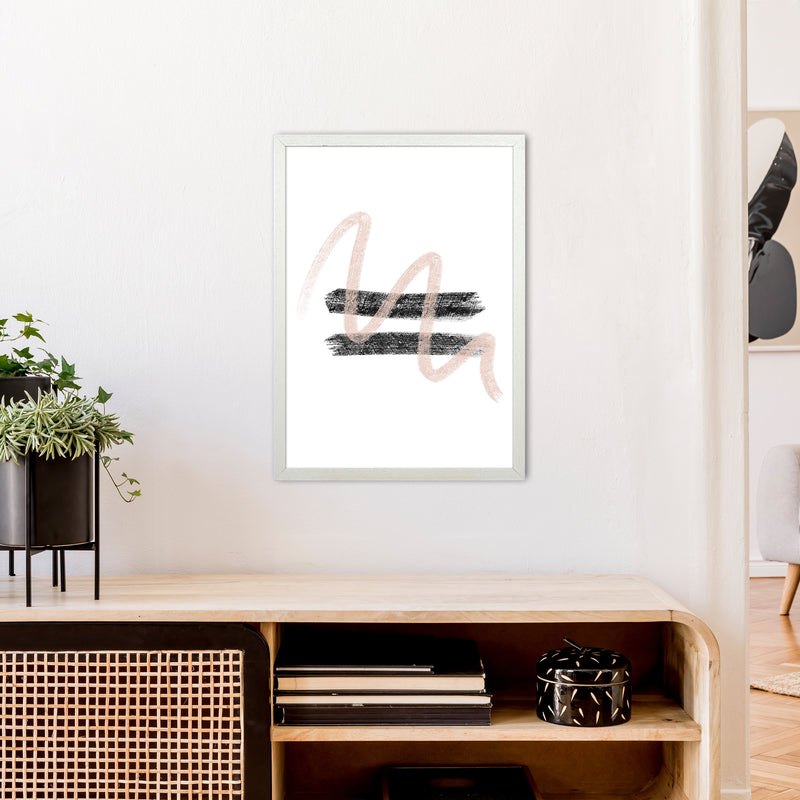 Dalia Chalk Pink And Black Line Contrast  Art Print by Pixy Paper A2 Oak Frame