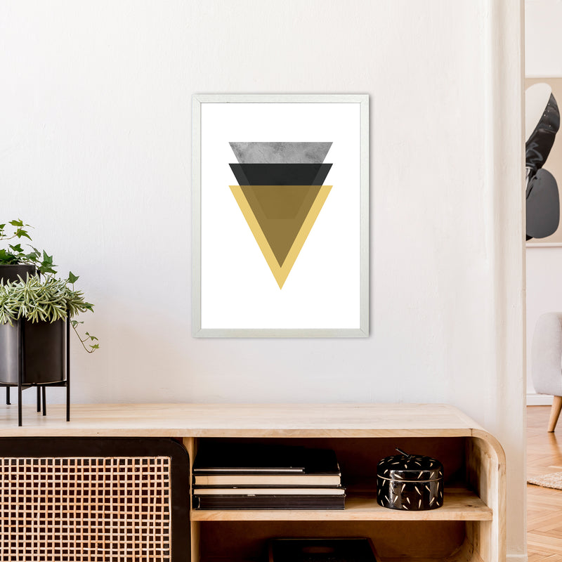 Geometric Mustard And Black Triangles  Art Print by Pixy Paper A2 Oak Frame