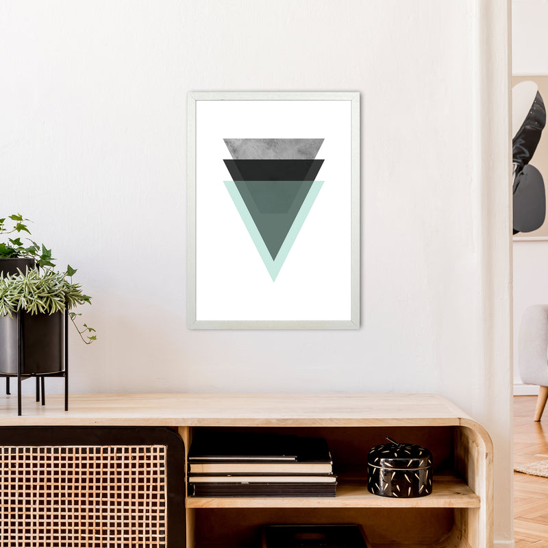 Geometric Mint And Black Triangles  Art Print by Pixy Paper A2 Oak Frame