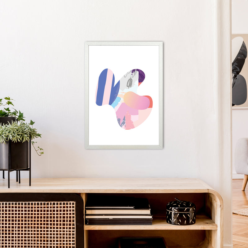 Pink Butterfly Abstract Shape  Art Print by Pixy Paper A2 Oak Frame