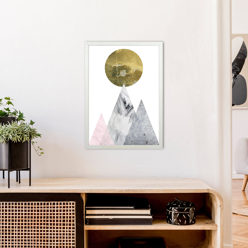 Luna Gold Moon And Mountains  Art Print by Pixy Paper A2 Oak Frame