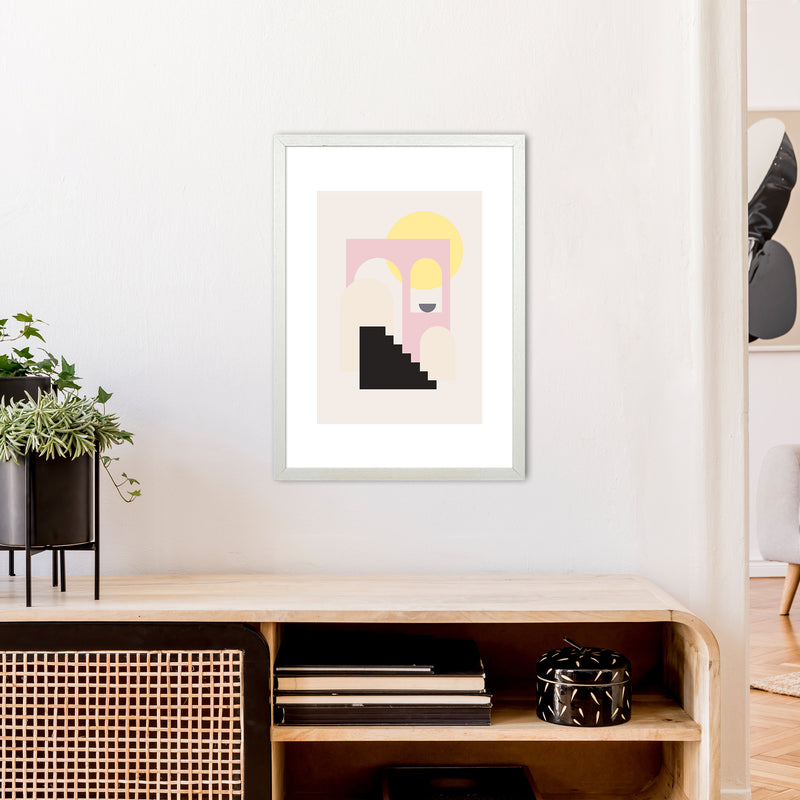 Mila Pink Stairs To Sun N6  Art Print by Pixy Paper A2 Oak Frame