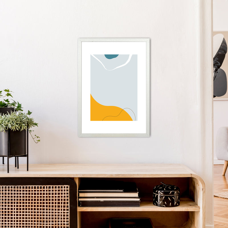 Mita Teal Abstract N21  Art Print by Pixy Paper A2 Oak Frame