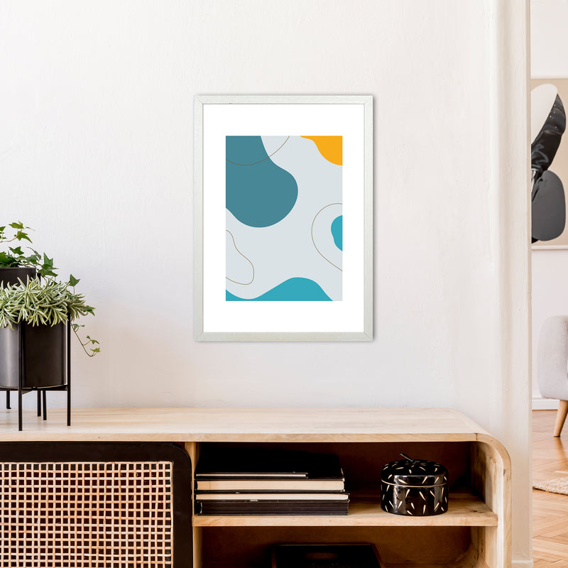 Mita Teal Abstract N16  Art Print by Pixy Paper A2 Oak Frame