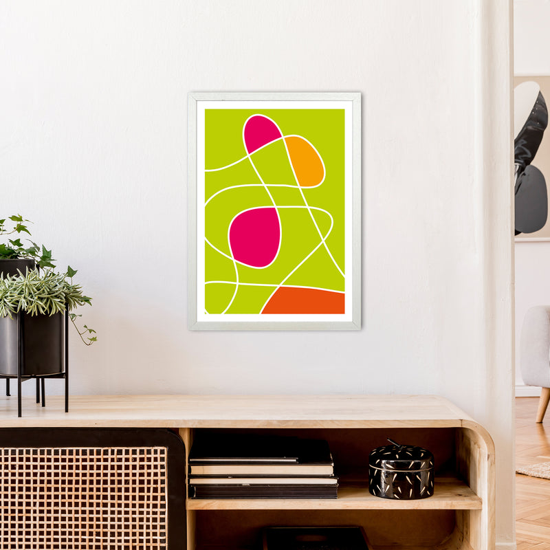 Lime Mess Neon Funk  Art Print by Pixy Paper A2 Oak Frame