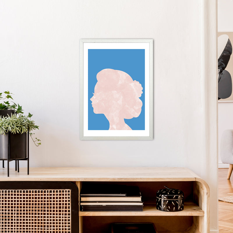 Marble Head Blue  Art Print by Pixy Paper A2 Oak Frame