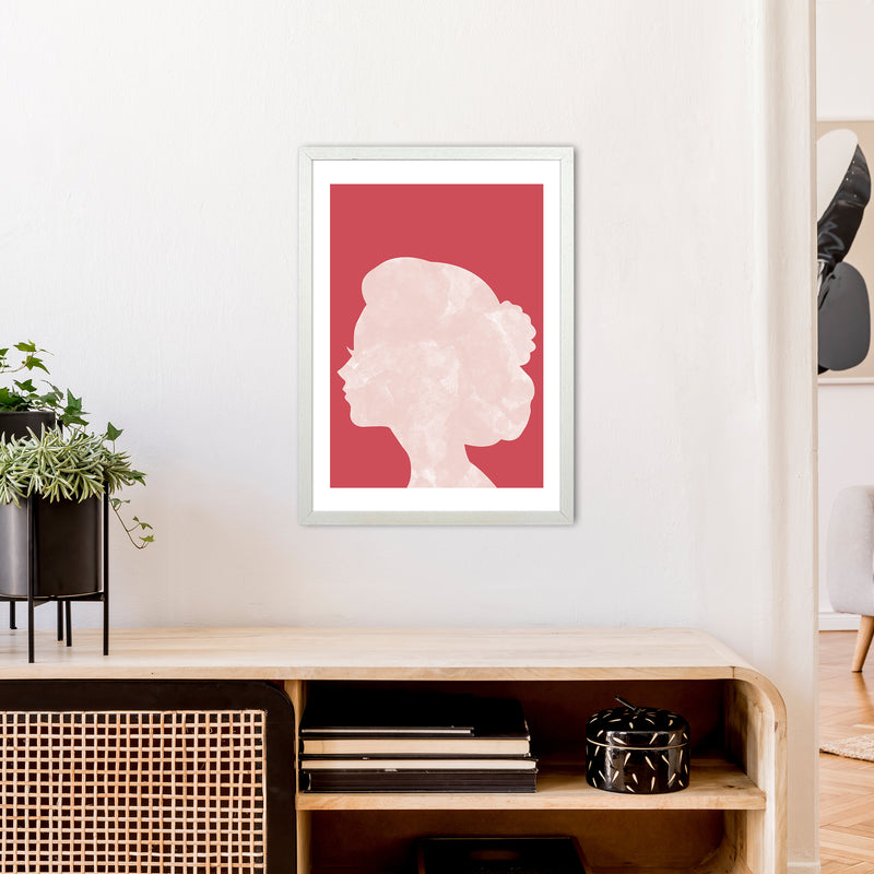 Marble Head Red  Art Print by Pixy Paper A2 Oak Frame
