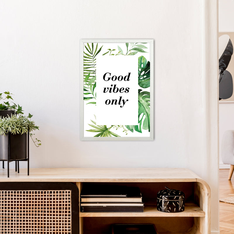 Good Vibes Only Exotic  Art Print by Pixy Paper A2 Oak Frame