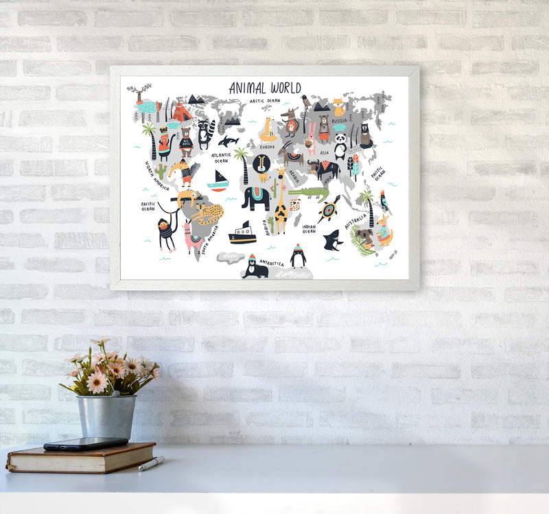 Animal World Map  Art Print by Pixy Paper A2 Oak Frame