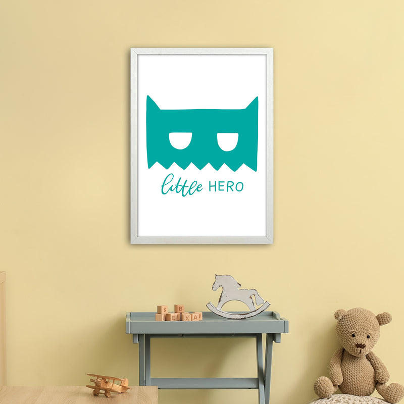 Little Hero Mask Teal Super Scandi  Art Print by Pixy Paper A2 Oak Frame