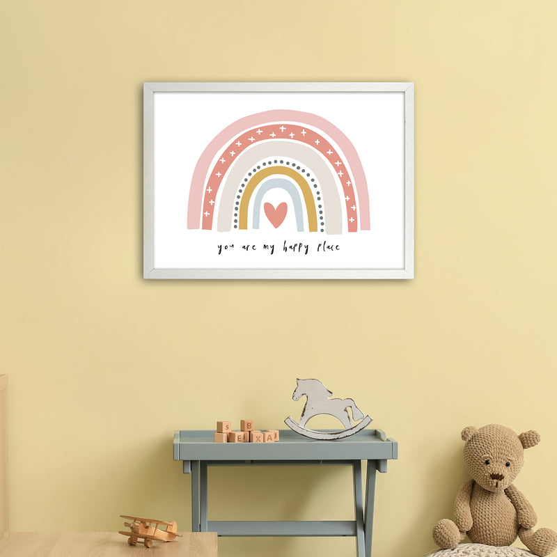 You Are My Happy Place Rainbow  Art Print by Pixy Paper A2 Oak Frame
