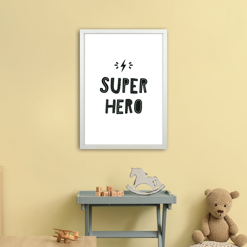 Super Hero Black Super Scandi  Art Print by Pixy Paper A2 Oak Frame